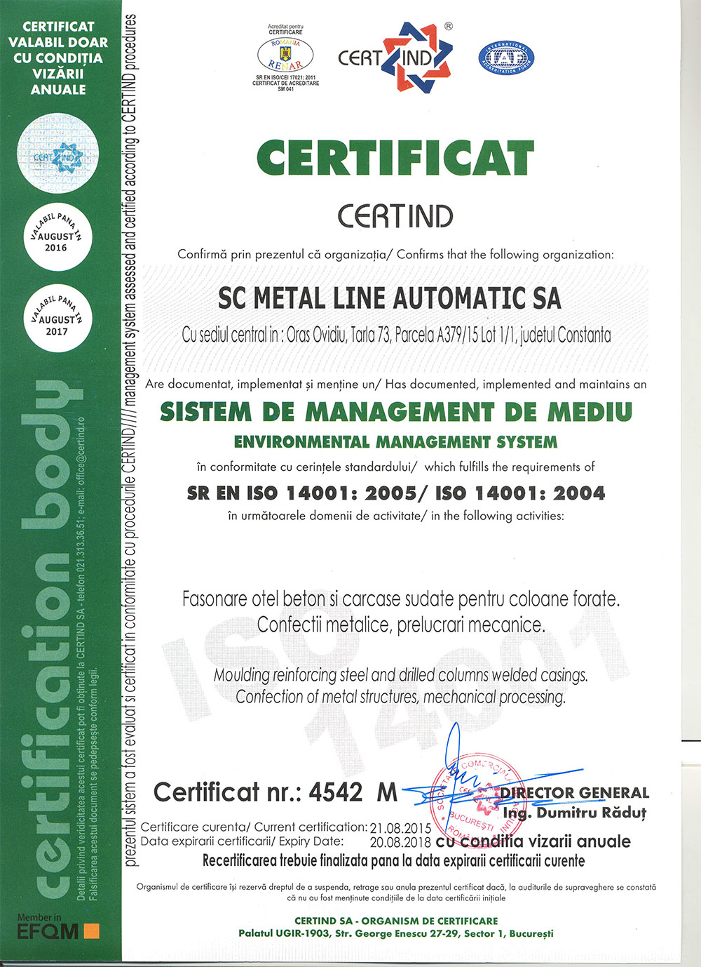 Certificat ISO Metal Line Automatic
